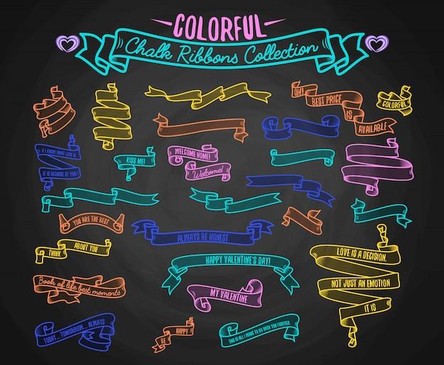 Kleurrijke krijt linten collectie