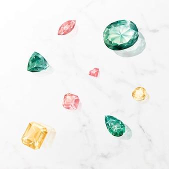 Kleurrijke kristallen edelsteen ontwerp vector