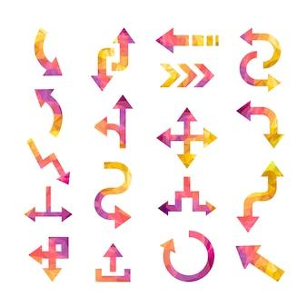 Kleurrijke kristallen pijlen set geïsoleerd op een witte achtergrond