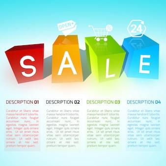 Kleurrijke kubussen verkoop poster met vier verschillende vormen met wit gekleurde letters en tekst naar beneden
