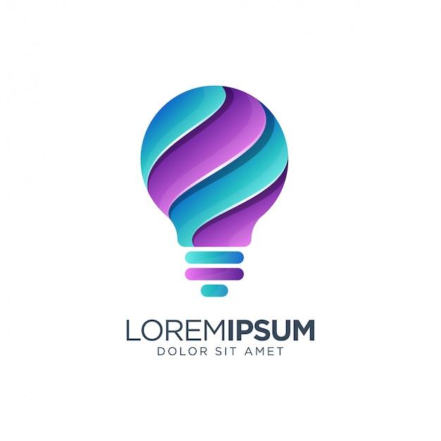 Kleurrijke lamp logo ontwerp