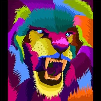 Kleurrijke leeuw kunst vector
