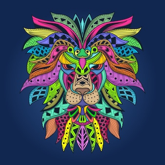 Kleurrijke leeuwenillustratie