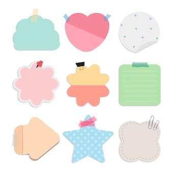 Kleurrijke lege herinnering notities vector set