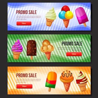 Kleurrijke lekker ijs verkoop banner web set