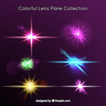 Kleurrijke lens flare-collectie