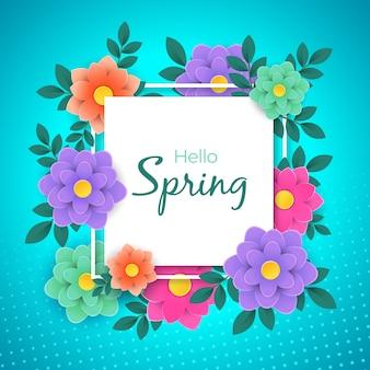 Kleurrijke lente achtergrond in papier stijl