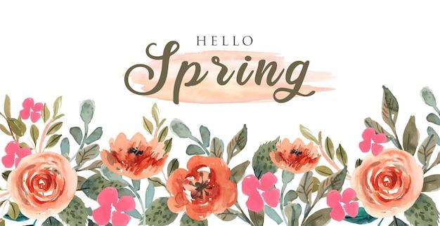 Kleurrijke lente achtergrond met oranje aquarel bloemen frame-02