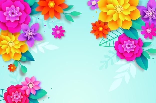Kleurrijke lente achtergrond papier stijl