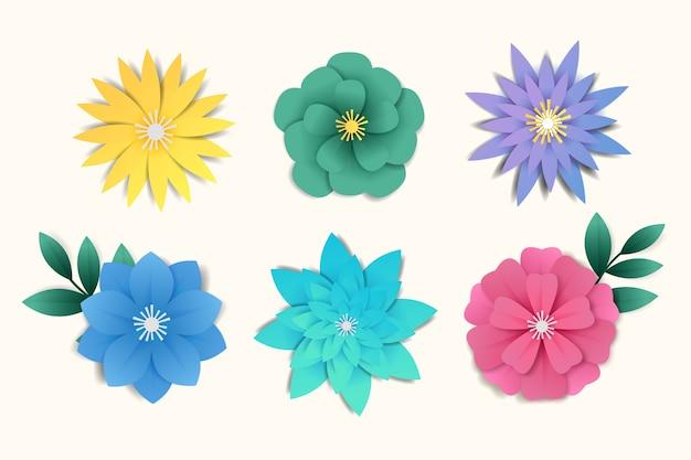 Kleurrijke lente bloem collectie papier stijl