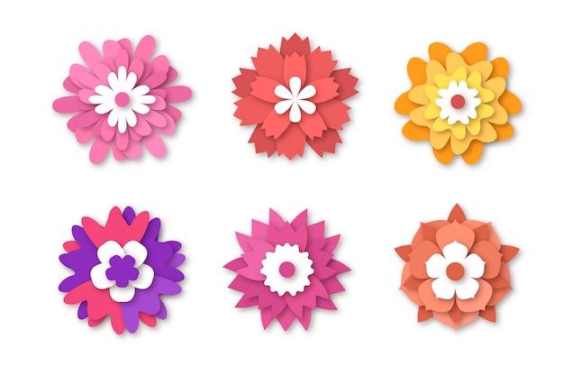 Kleurrijke lente bloemencollectie in papieren stijl