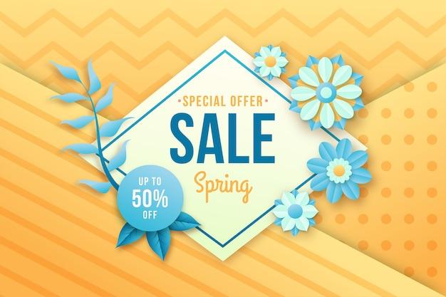 Kleurrijke lente korting banner in papierstijl