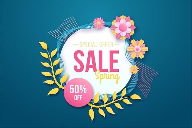Kleurrijke lente korting in papier stijl banner