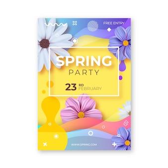 Kleurrijke lente partij folder sjabloon