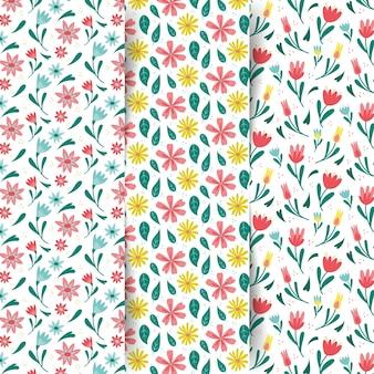 Kleurrijke lente patroon set