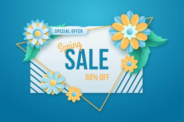 Kleurrijke lente speciale aanbieding banner in papierstijl
