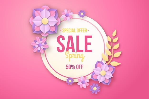 Kleurrijke lente speciale aanbieding in papier stijl banner