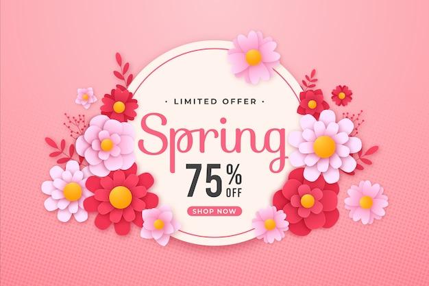Kleurrijke lente verkoop banner in papier stijl