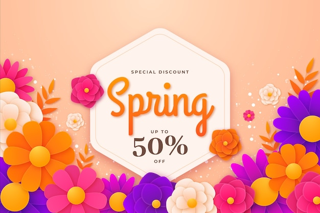 Kleurrijke lente verkoop in papier stijl banner