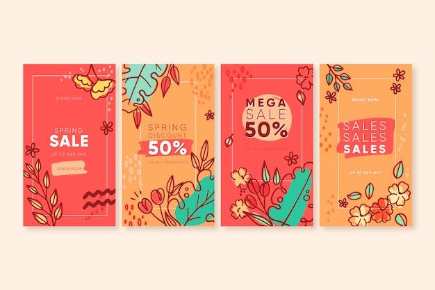 Kleurrijke lente verkoop instagram verhalen