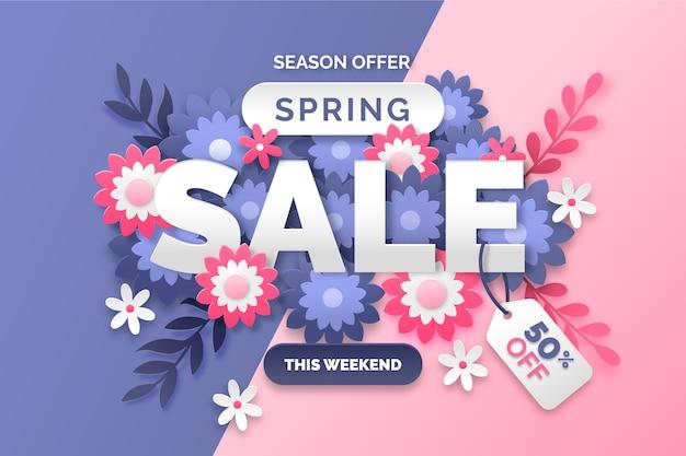 Kleurrijke lente verkoop papier stijl