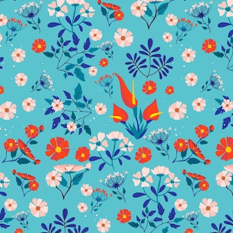 Kleurrijke lentebloemen op stoffenpatroon