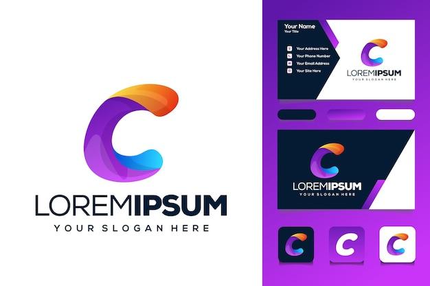 Kleurrijke letter c logo ontwerp bus visitekaartje