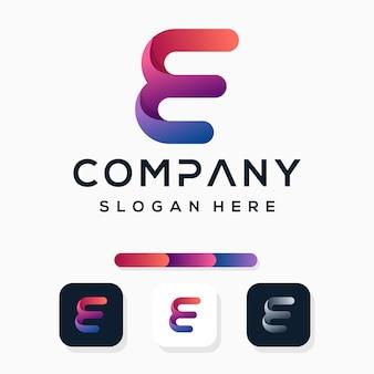 Kleurrijke letter e logo sjabloon