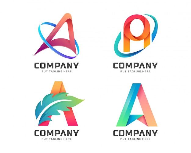 Kleurrijke letter eerste a logo-collectie