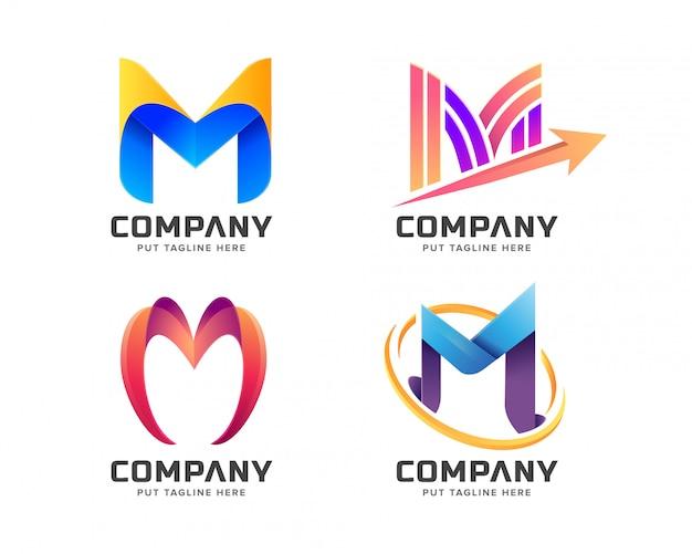 Kleurrijke letter eerste m-logo collectie