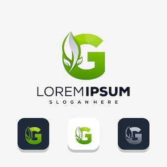 Kleurrijke letter g met leafe-logo-ontwerp