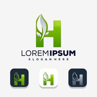 Kleurrijke letter h met leafe-logo-ontwerp