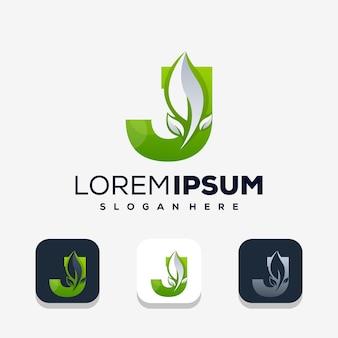 Kleurrijke letter j met leafe-logo