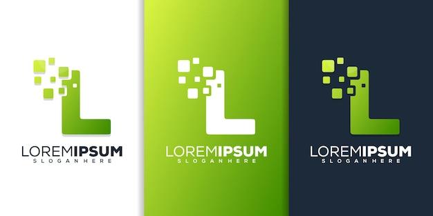 Kleurrijke letter l met digitaal logo-sjabloon
