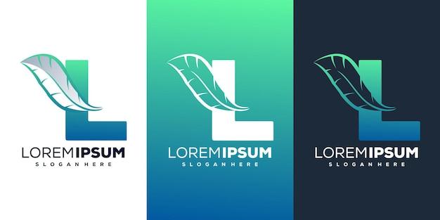 Kleurrijke letter l met veren logo sjabloon