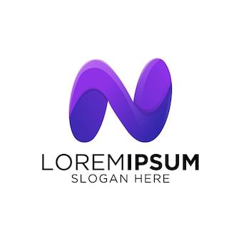 Kleurrijke letter n gradiënt kunstwerk logo sjabloon