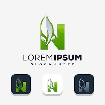 Kleurrijke letter n met leafe-logo-ontwerp