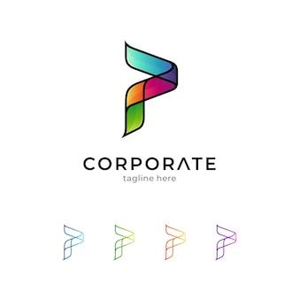 Kleurrijke letter p-logo geïsoleerd op wit