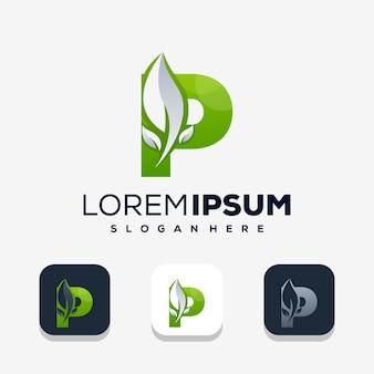 Kleurrijke letter p met leafe-logo-ontwerp