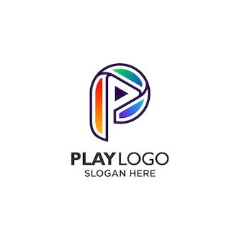 Kleurrijke letter p voor logo-ontwerp met afspeelknop