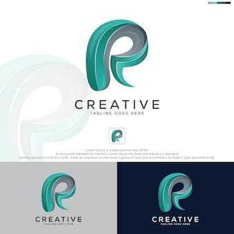 Kleurrijke letter r logo sjabloon abstracte letter r 3d llogo