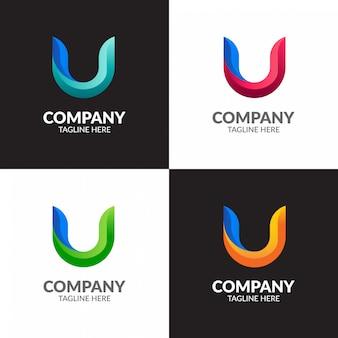 Kleurrijke letter u logo ontwerp