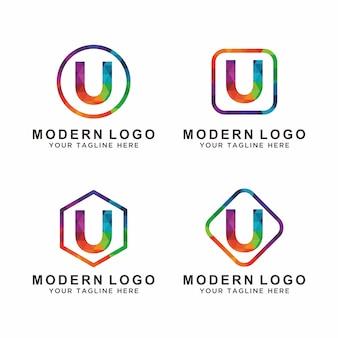 Kleurrijke letter u logo-ontwerp