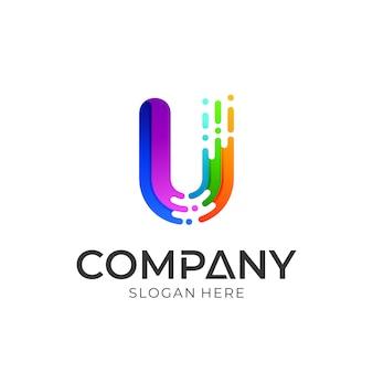 Kleurrijke letter u-logo