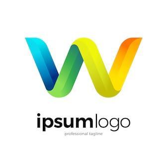 Kleurrijke letter w logo sjabloon
