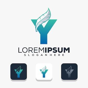 Kleurrijke letter y withb leafe logo sjabloon