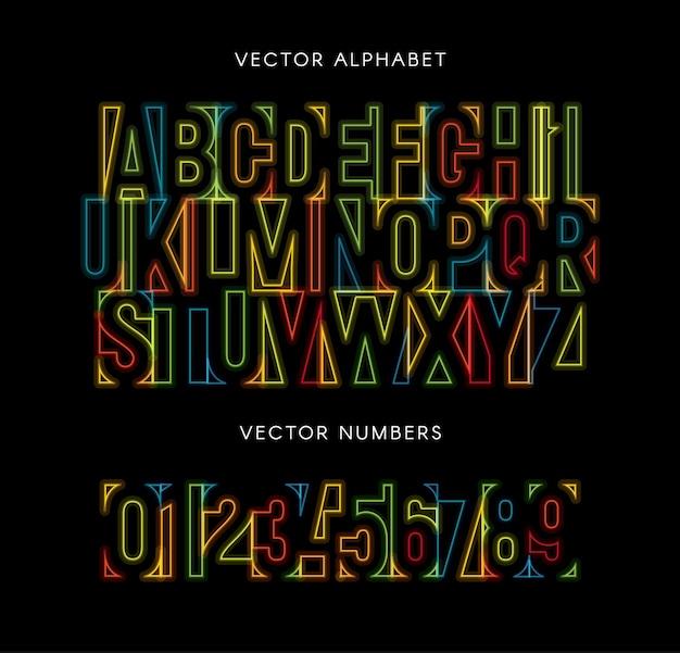 Kleurrijke letters en cijfers ingesteld. gekleurde vector latijnse alfabet. regenboog kleur lettertype. geometrische neon gloeiende lijnen abc. negatieve ruimte monogram en poster sjabloon. typografie ontwerp