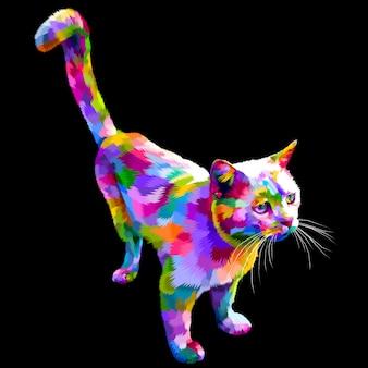 Kleurrijke leuke kat die kijkt die omhoog op een zwarte achtergrond wordt geïsoleerd