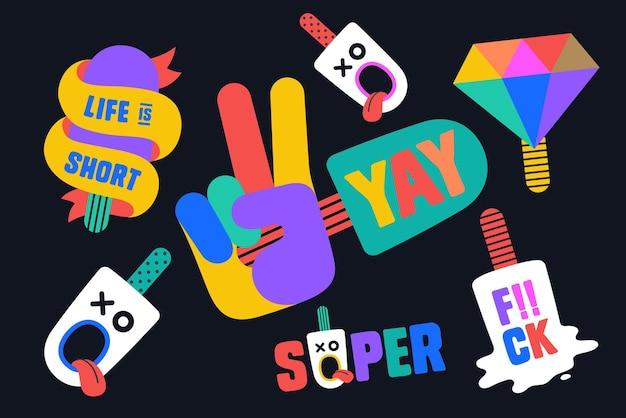 Kleurrijke leuke stickers voor ijsmerk, winkel, café, ijsthema. ontwerp cartoonstickers, spelden, chique patches, badges geïsoleerd op een donkere achtergrond