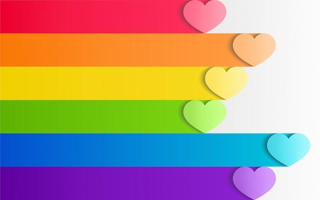 Kleurrijke lgbt-trots met harten in document ambachtelijke stijl
